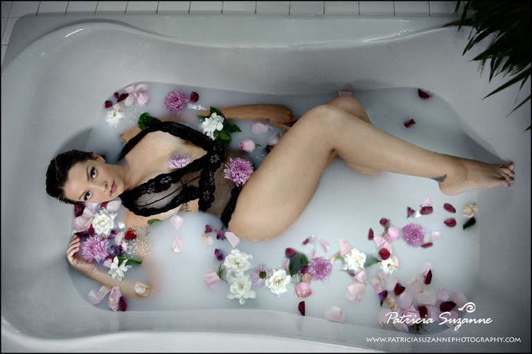 Milk bath boudoir with black lace teddy